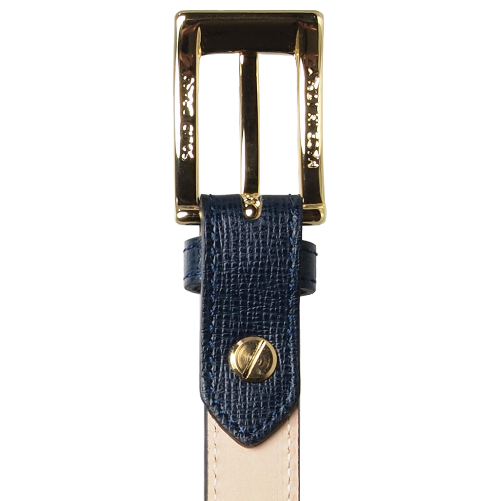 20 mm Saffiano Pencil Belt  Blue-Womens Belts-72 Smalldive