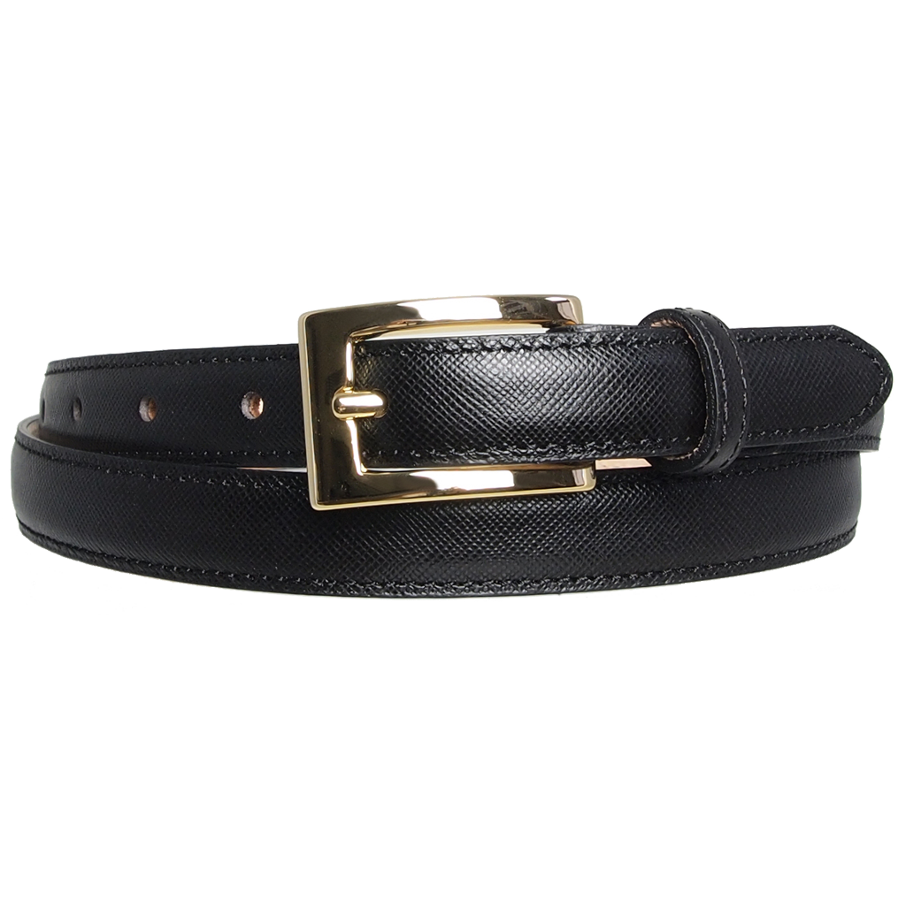 20 mm Saffiano Leather Belt Black-Womens Belts-72 Smalldive