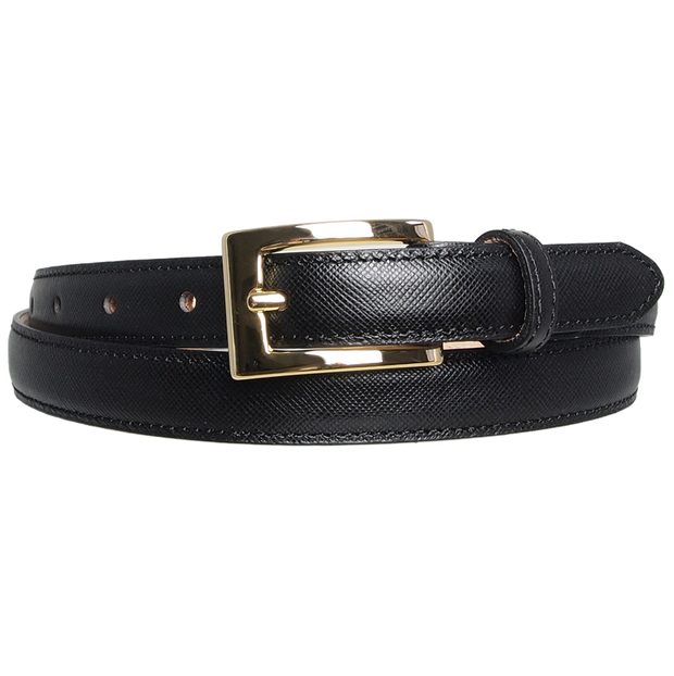 20 mm Saffiano Pencil Belt Black-Womens Belts-72 Smalldive