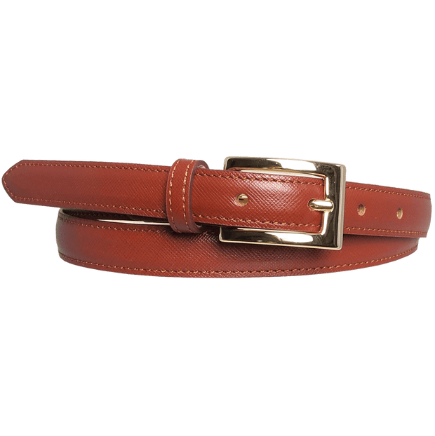 20 mm Saffiano Pencil Belt Brown-Womens Belts-72 Smalldive