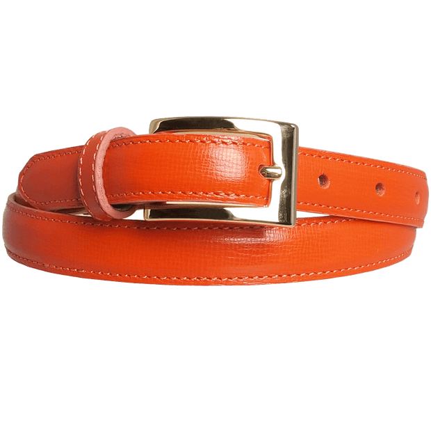 20 mm Saffiano Pencil Belt Orange-Womens Belts-72 Smalldive