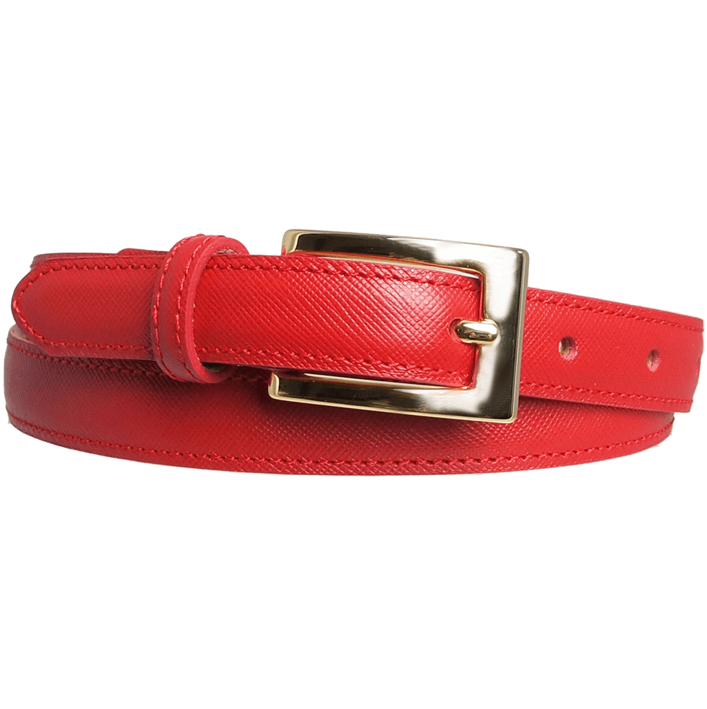 20 mm Saffiano Pencil Belt Red-Womens Belts-72 Smalldive
