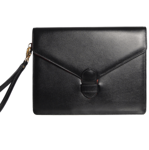 Buffed Leather Envelope Clutch Black-Folios-72 Smalldive