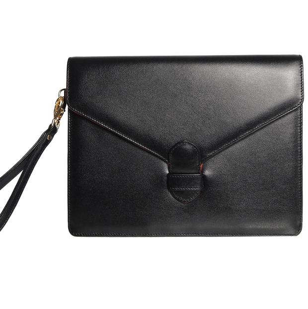 Buffed Calf Leather Envlope Wristlet Black-Folio & Clutches-72 Smalldive