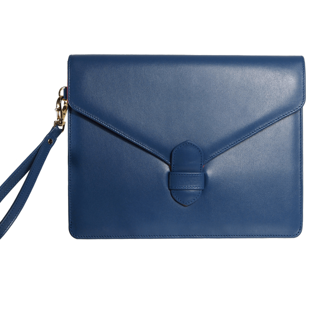 Buffed Calf Leather Envlope Wristlet Blue-Folio & Clutches-72 Smalldive