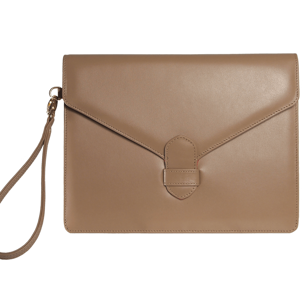 Buffed Calf Leather Envlope Wristlet Nut - 72 Smalldive