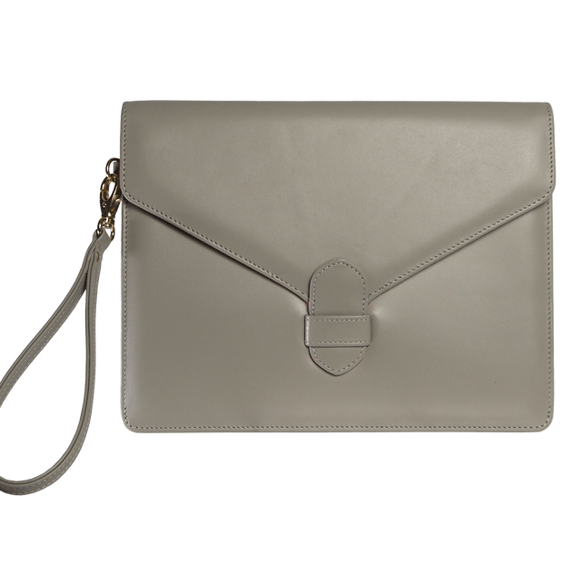 Buffed Calf Leather Envlope Wristlet Pumice - 72 Smalldive