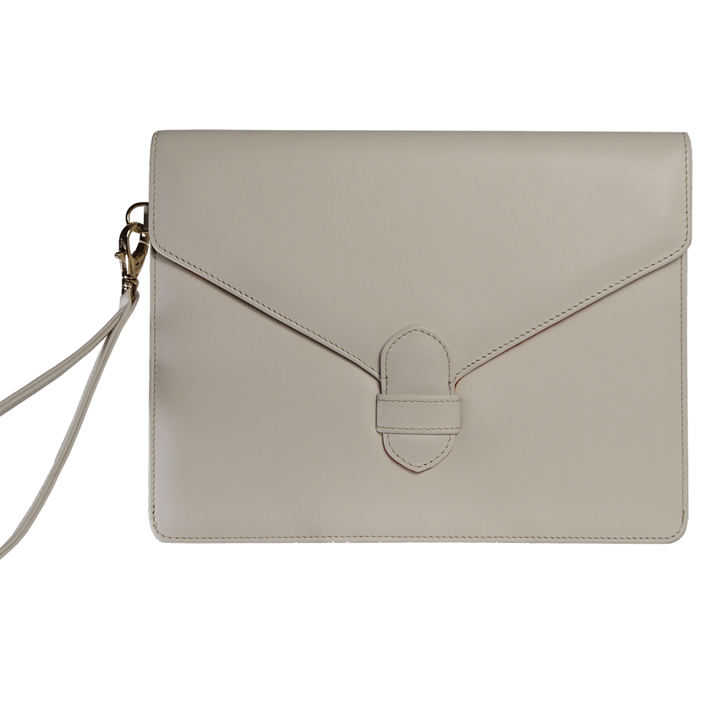 Buffed Calf Leather Envlope Wristlet Ivory-Folio & Clutches-72 Smalldive