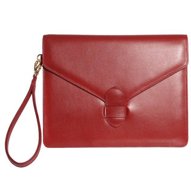 Buffed Calf Leather Envlope Wristlet Ruby-Folio & Clutches-72 Smalldive