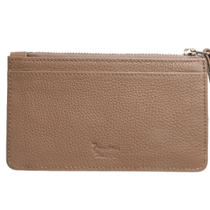 5 Credit Card Pebbled Leather Card Wallet With Zip Beaver-Unisex Wallets-72 Smalldive