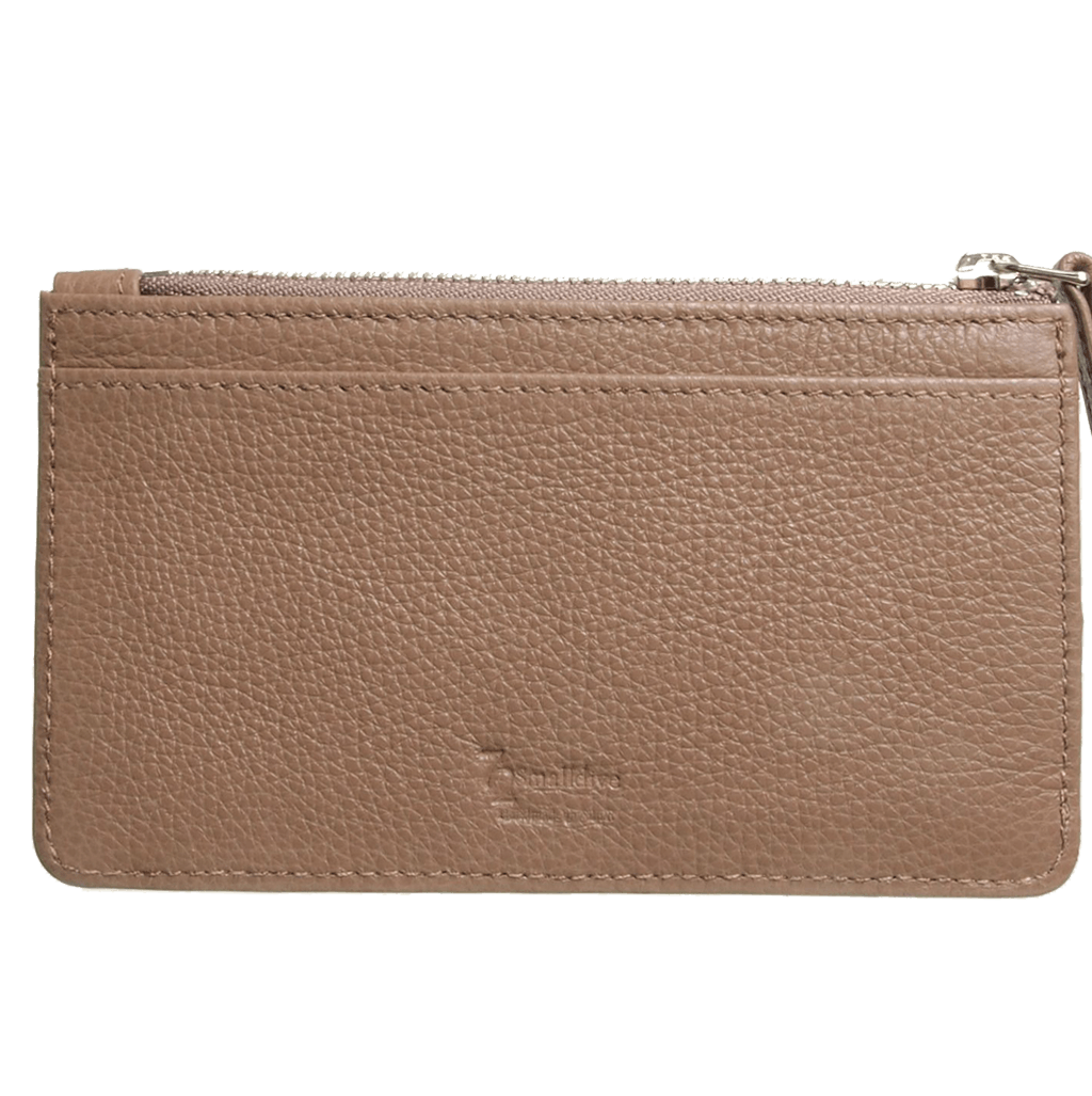 5 CC Grained Calf Leather Zip Wallet Taupe-Unisex Wallets-72 Smalldive