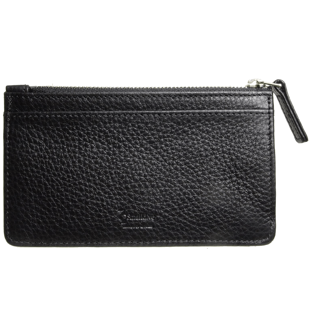 5 Credit Card Pebbled Leather Card Wallet With Zip Black-Unisex Wallets-72 Smalldive