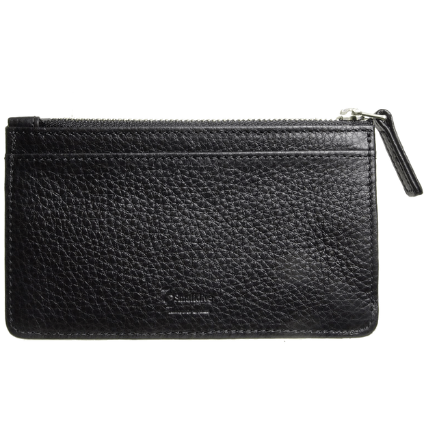 5 CC Grained Calf Leather Zip Card Wallet Black-Unisex Wallets-72 Smalldive
