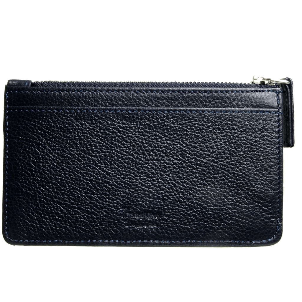 5 Credit Card Pebbled Leather Card Wallet With Zip Blue-Unisex Wallets-72 Smalldive