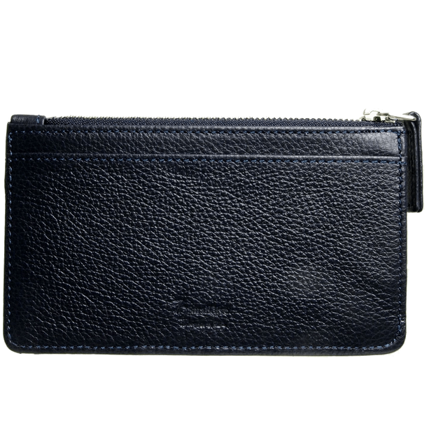5 CC Grained Calf Leather Zip Wallet Blue-Unisex Wallets-72 Smalldive
