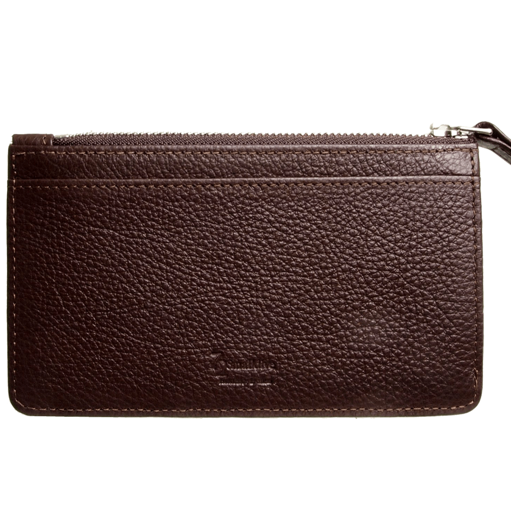 5 Credit Card Pebbled Leather Card Wallet With Zip Brown-Unisex Wallets-72 Smalldive