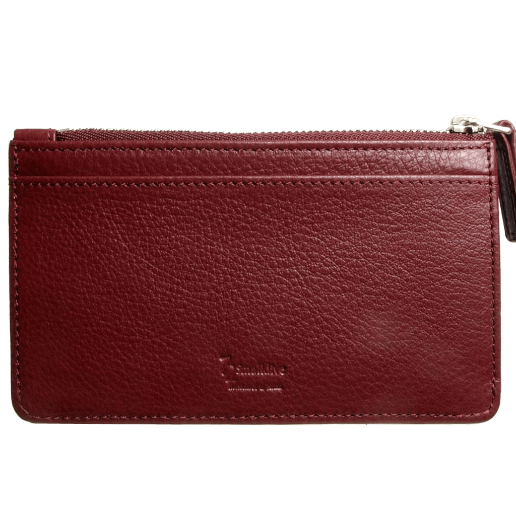 5 Credit Card Pebbled Leather Card Wallet With Zip Bordeaux-Unisex Wallets-72 Smalldive