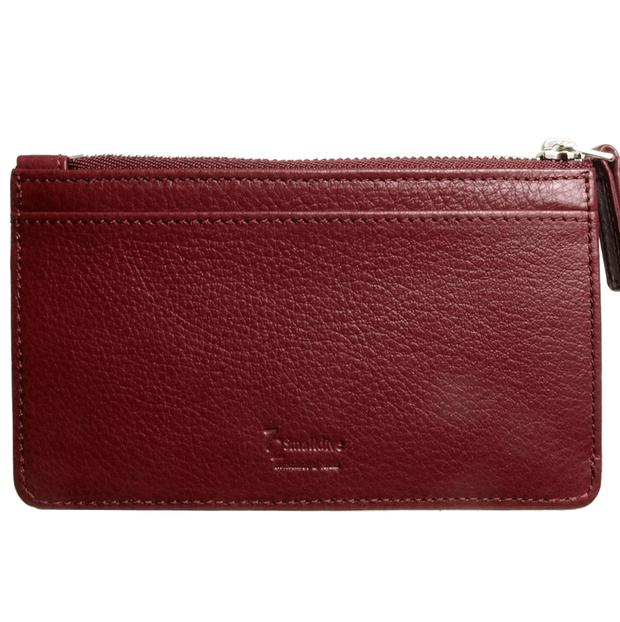 5 CC Grained Calf Leather Zip Wallet Rosewood-Unisex Wallets-72 Smalldive