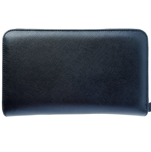 16 Credit Card Saffiano Zip Around Travel Wallet Black-Unisex Wallets-72 Smalldive