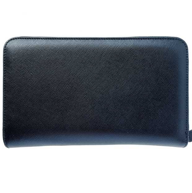16 CC Saffiano Zip Around Travel Wallet Black-Unisex Wallets-72 Smalldive