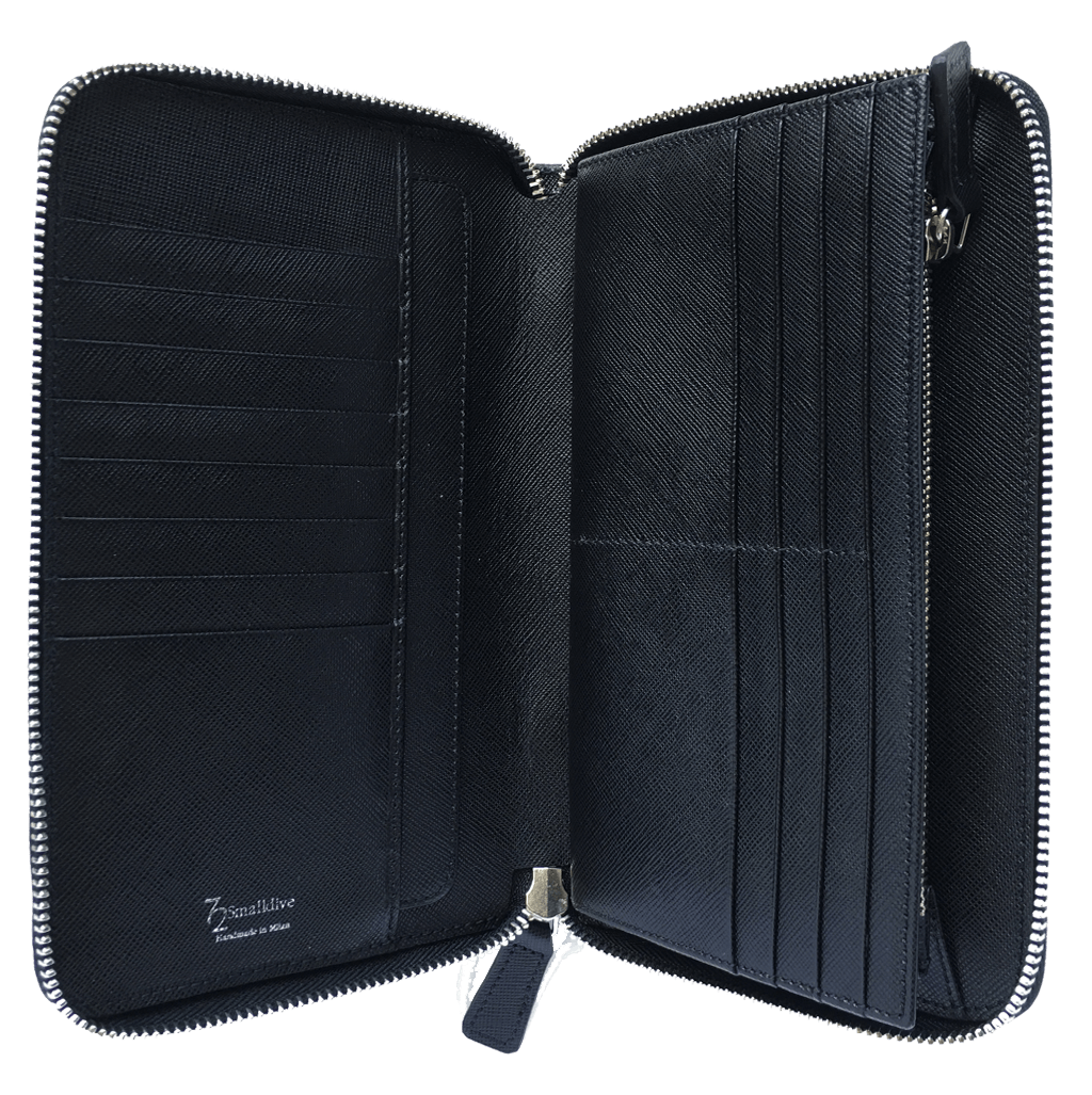16 Credit Card Saffiano Organizer Zipped Wallet Black-Unisex Wallets-72 Smalldive