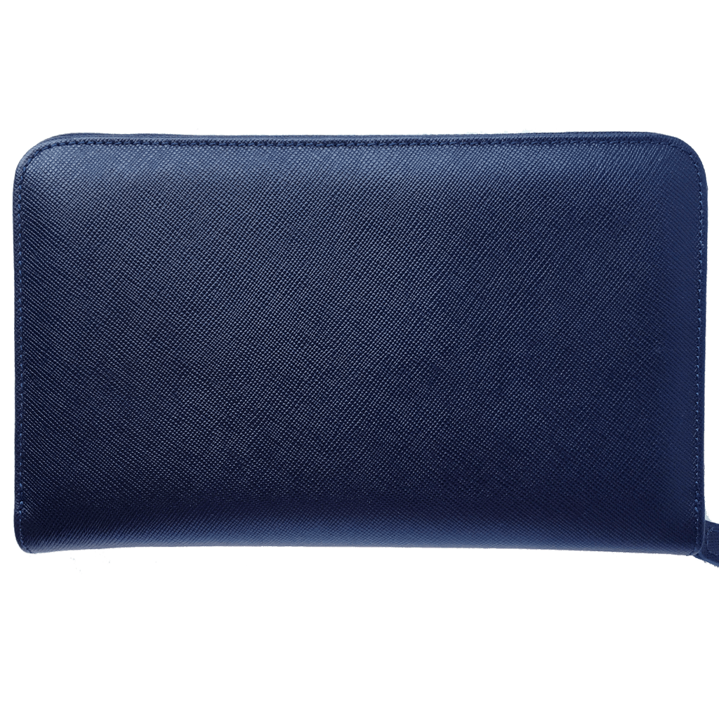 16 Credit Card Saffiano Organizer Zipped Wallet Blue-Unisex Wallets-72 Smalldive