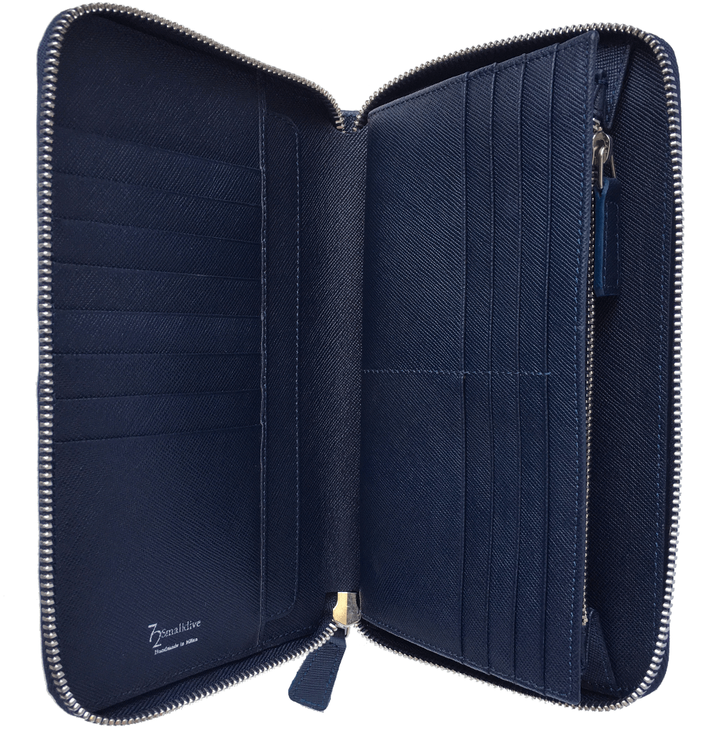 16 Credit Card Saffiano Zip Around Travel Wallet Blue-Unisex Wallets-72 Smalldive