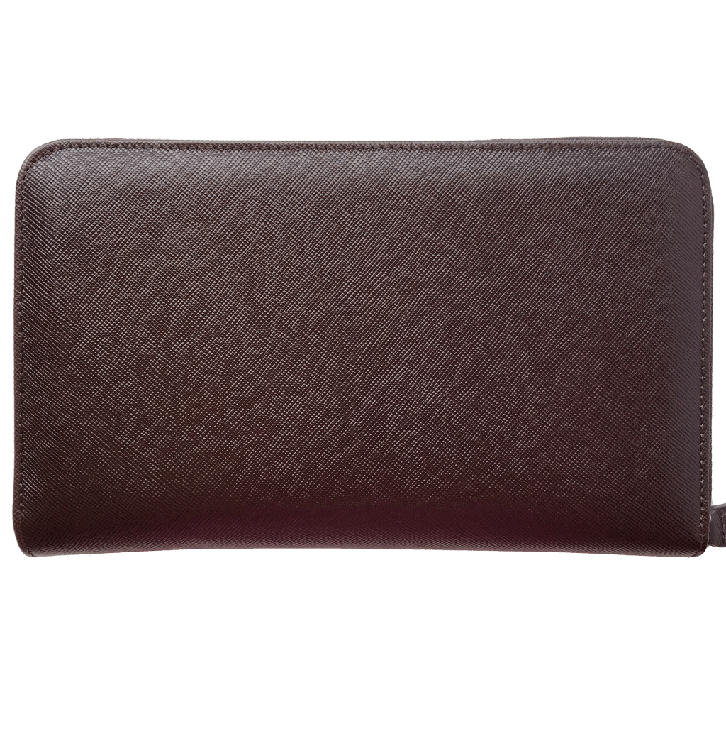 16 Credit Card Saffiano Zip Around Travel Wallet Brown-Unisex Wallets-72 Smalldive