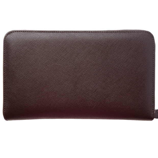 16 CC Saffiano Zip Around Travel Wallet Brown-Unisex Wallets-72 Smalldive