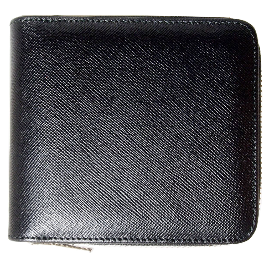 4 Credit Card Zip Saffiano Leather Wallet Black-Unisex Wallets-72 Smalldive