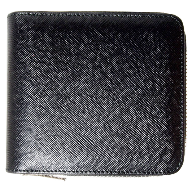 4 CC Saffiano Zip Wallet Black-Unisex Wallets-72 Smalldive