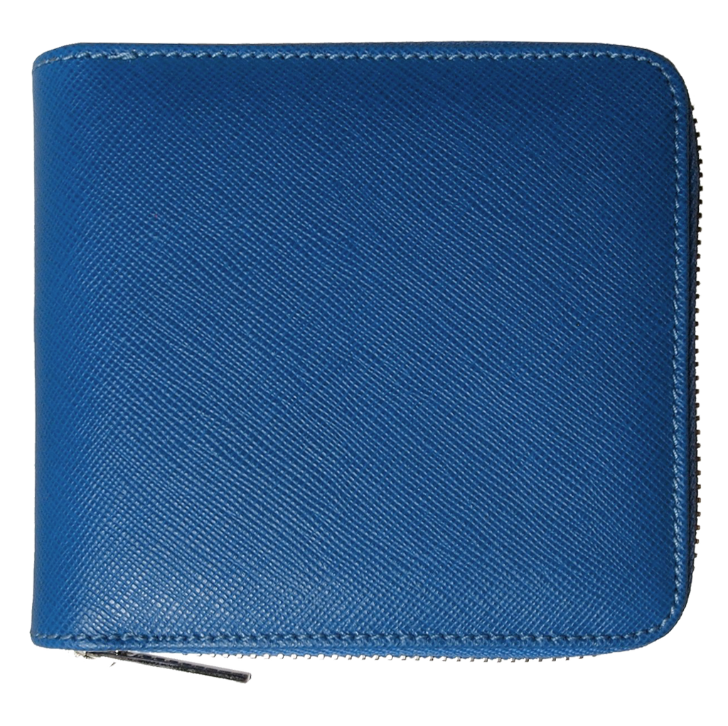 4 Credit Card Zip Saffiano Leather Wallet Blue-Unisex Wallets-72 Smalldive