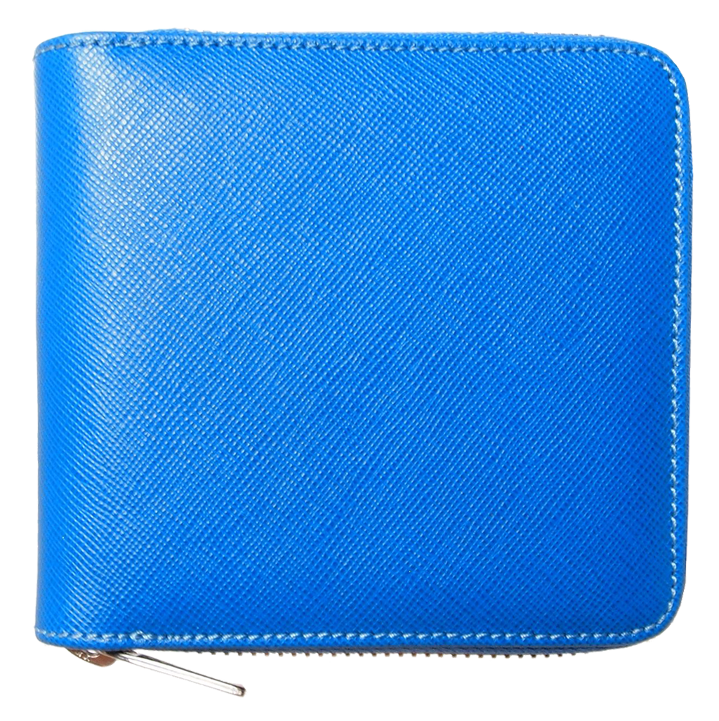 4 Credit Card Zip Saffiano Leather Wallet Sky Blue-Unisex Wallets-72 Smalldive