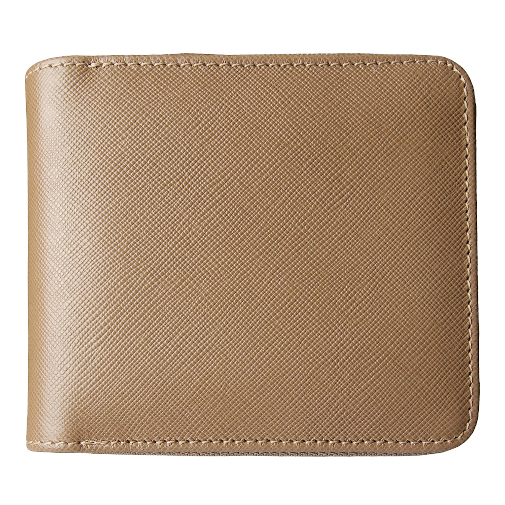 4 Credit-Cards Saffiano Leather  Zipped Wallet Taupe