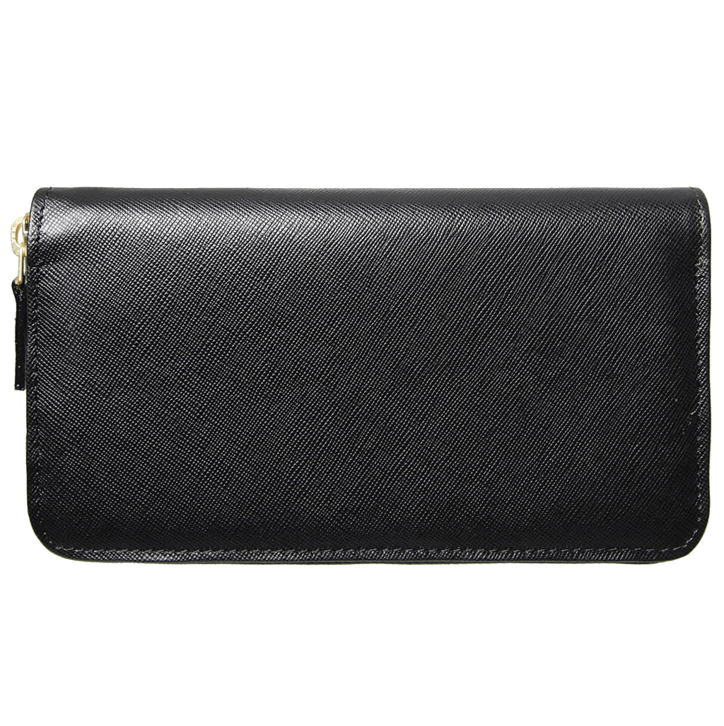 8 Credit Card Saffiano Zip Around Wallet Black-Unisex Wallets-72 Smalldive