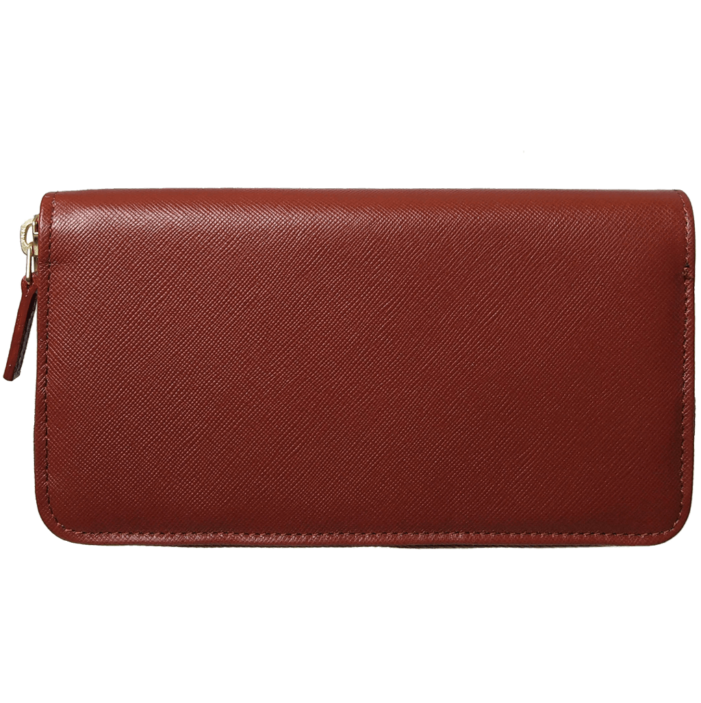 12 CC Saffiano Zip Around Wallet Brown-Unisex Wallets-72 Smalldive