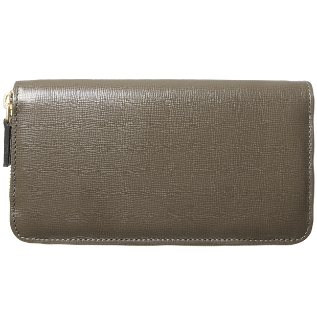 12 CC Saffiano Zip Around Wallet Olive-Unisex Wallets-72 Smalldive