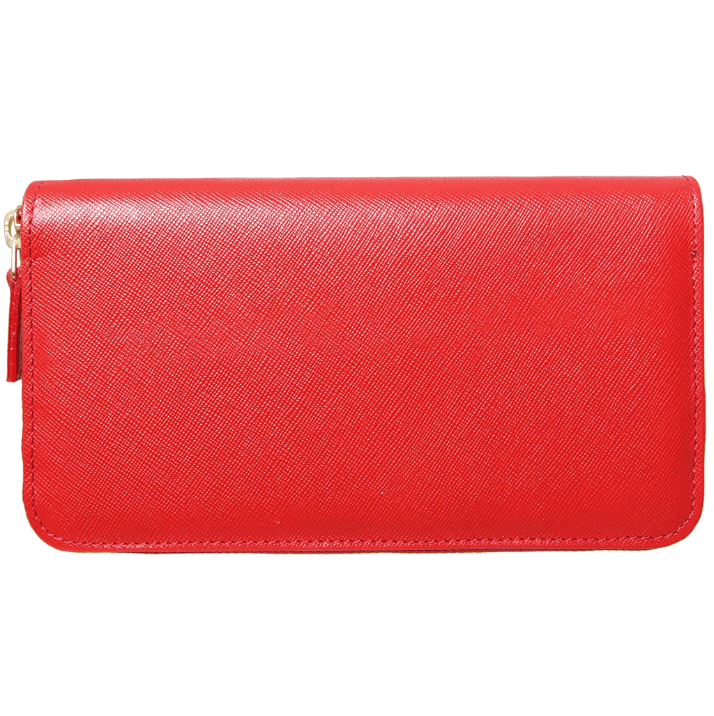 Saffiano Zip Around Wallet Red - 72 Smalldive