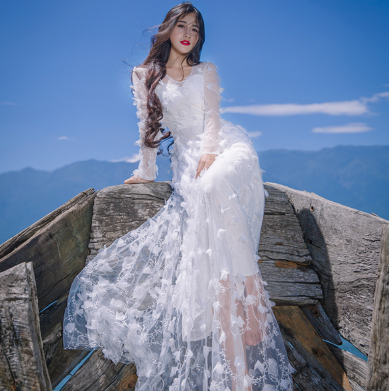 Beach Lace Wedding Dress White Collection 10 – My Lovely Wedding SG