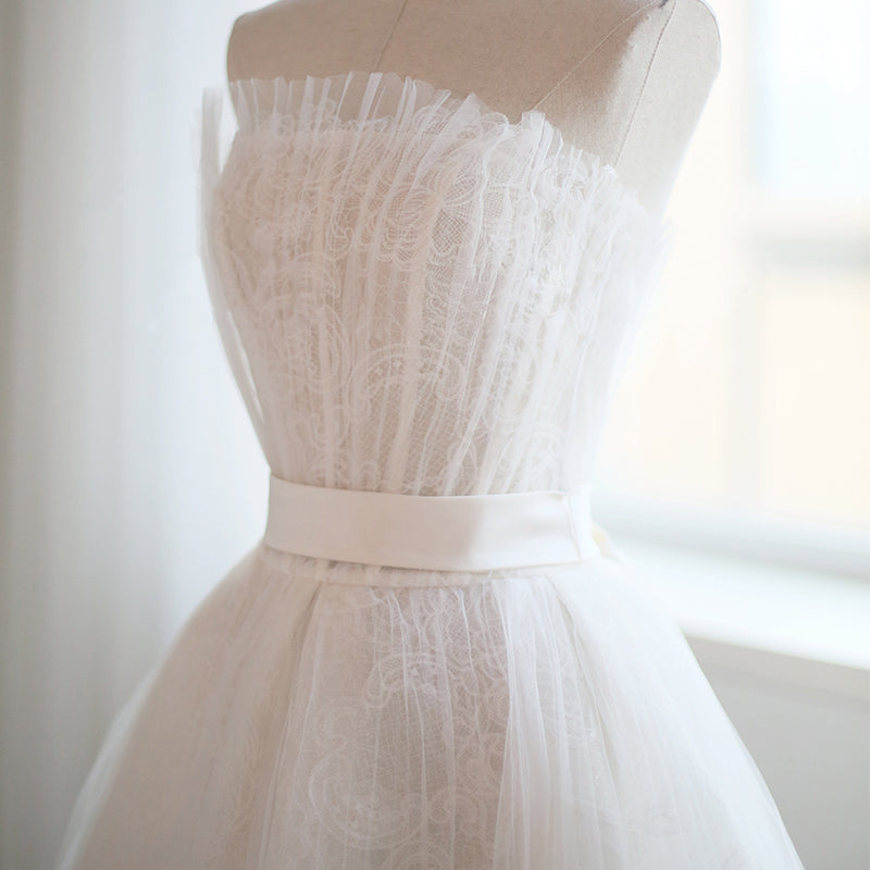 Strapless Tulle and Lace Tea Length Wedding Dress