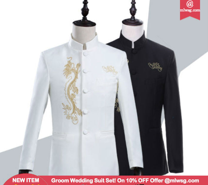 White Black Groom Wedding Suit Set