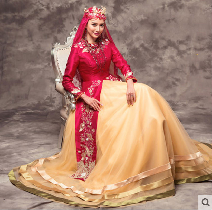 Rose Red Malay Muslim Wedding Dress Gold Embroidery Details with ...