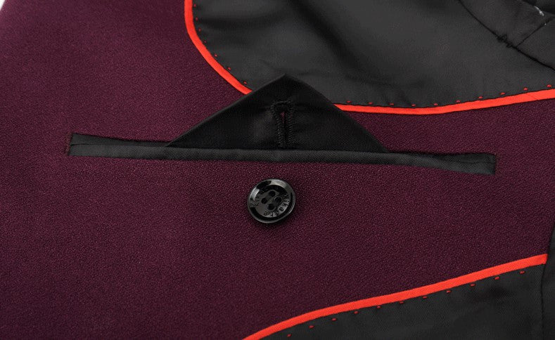 Red Wine Smart Groom suits (Jacket + Trousers)