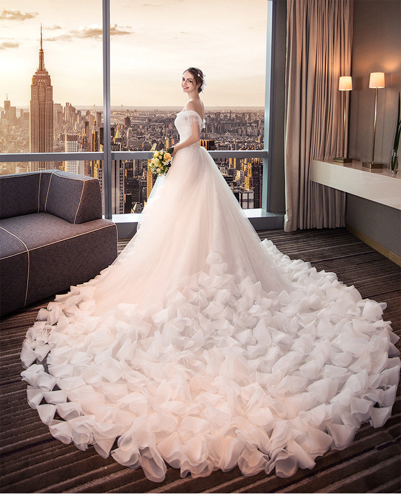 White Waist Tulle Slim Look Wedding Dress Long Tail (Rental) – My ...