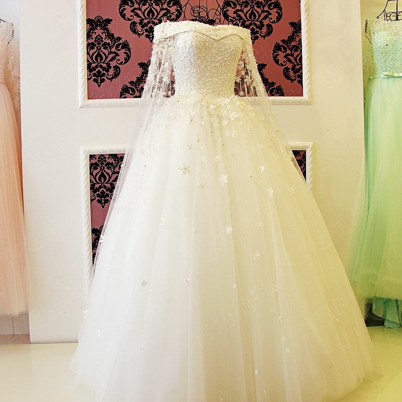 c90ae258104 Off The Shoulder Long White Wedding Dress with Edge Lace Cathedral Veil  (Rental