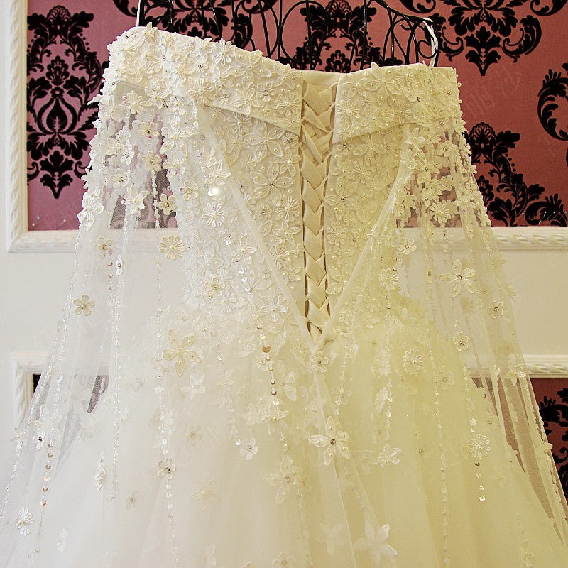 Off The Shoulder Long White Wedding Dress with Edge Lace Cathedral ...