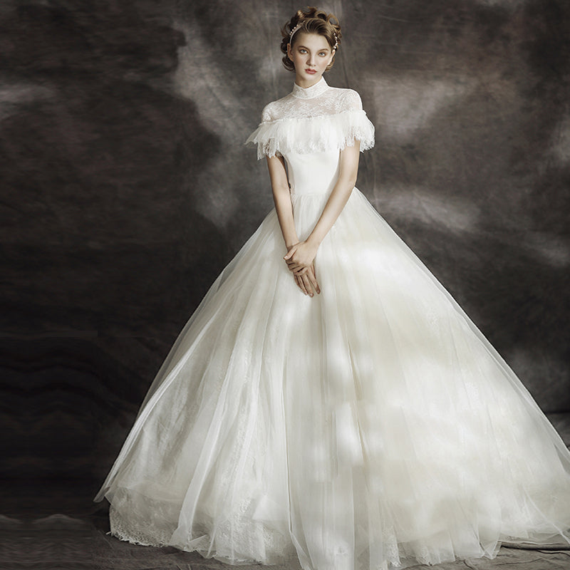Off The Shoulder White Lace Ball Gown (Rental, mini 2 days)