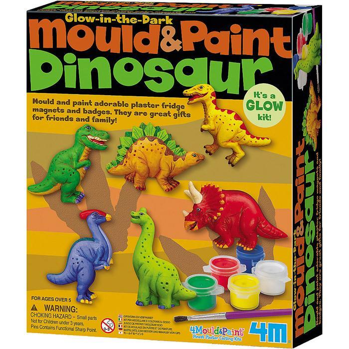 4M Glow-In-The-Dark Mould & Paint Dinosaur Fridge Magnets