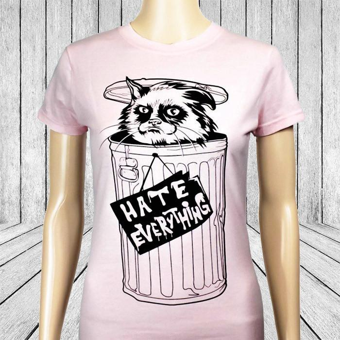 Feline The Grouch 'Hate Everything' Ladies T-Shirt - Small - $6 T-Shirts - Yellow Octopus