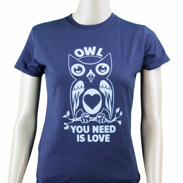 Owl You Need Is Love Ladies T-Shirt - Small - $6 T-Shirts - Yellow Octopus